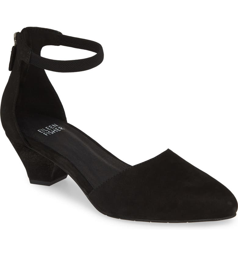 EILEEN FISHER Just Open Sided Pump, Main, color, BLACK SUEDE
