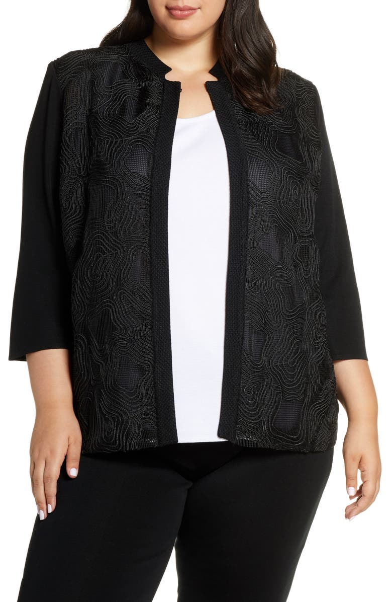 MING WANG Swirl Embroidery Collarless Jacket, Main, color, BLACK