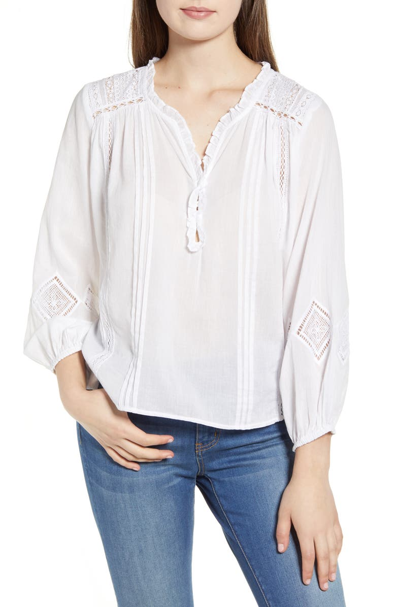 VELVET BY GRAHAM & SPENCER Lace Detail Cotton Blouse, Main, color, WHITE
