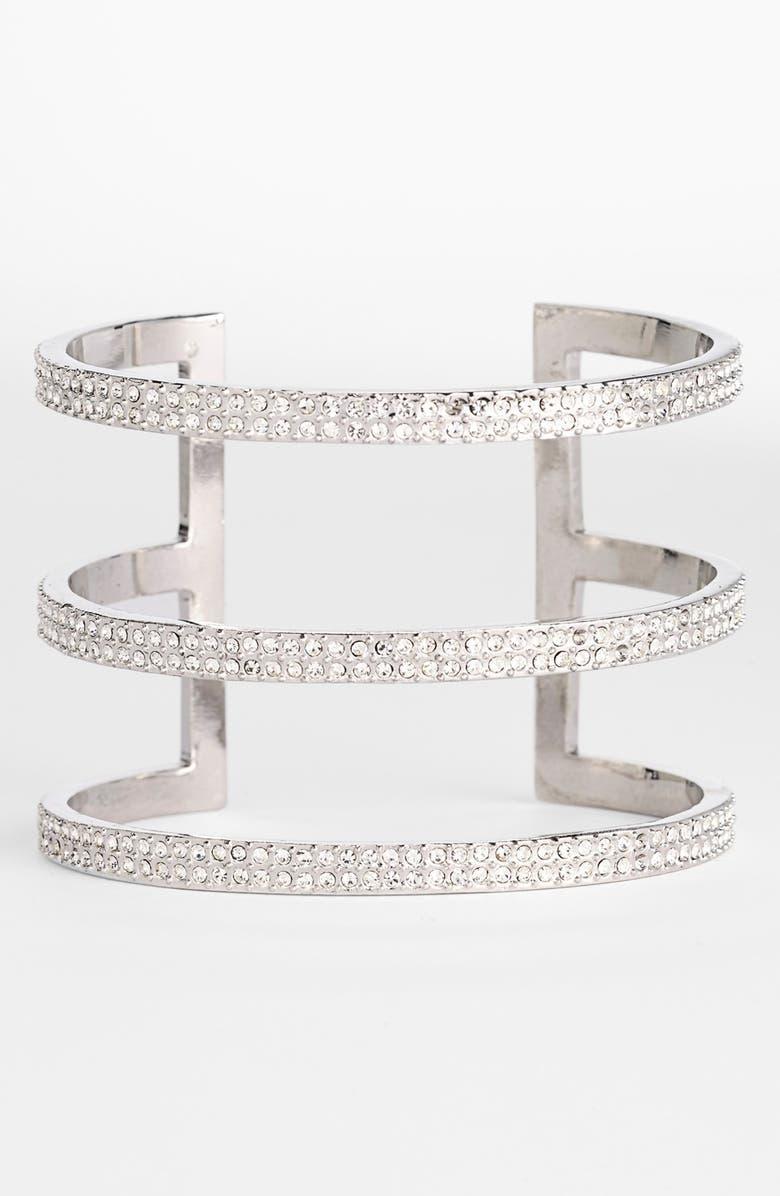 VINCE CAMUTO 'Crystal Classics' Pavé Cutout Cuff, Main, color, 040