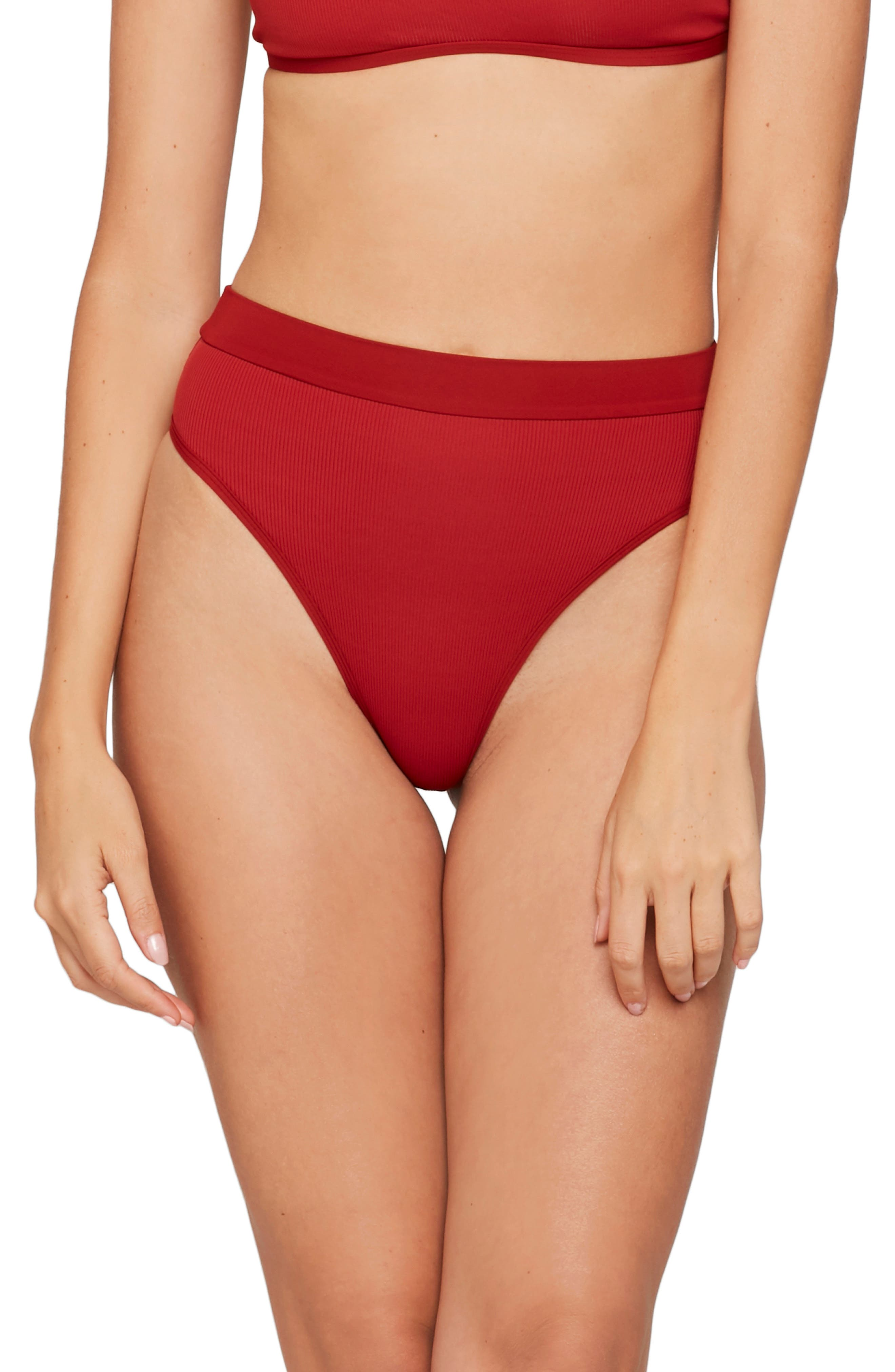 L Space French Cut High Waist Textured Swim Bottoms, Red