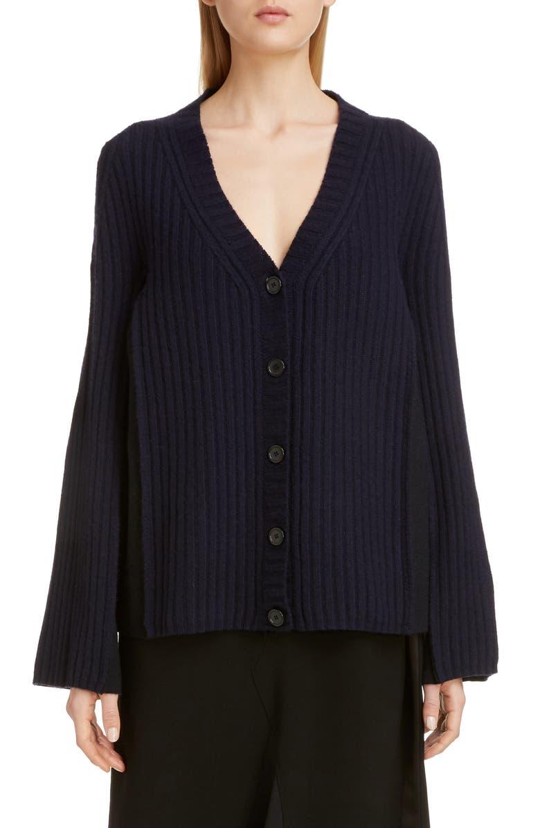 MAISON MARGIELA Bicolor Wool Blend Cardigan, Main, color, NAVY/ BLUE