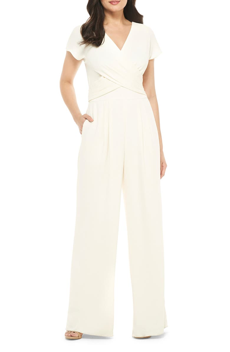 GAL MEETS GLAM COLLECTION Delaney Crossover Wrap Bodice Jumpsuit, Main, color, CREAM