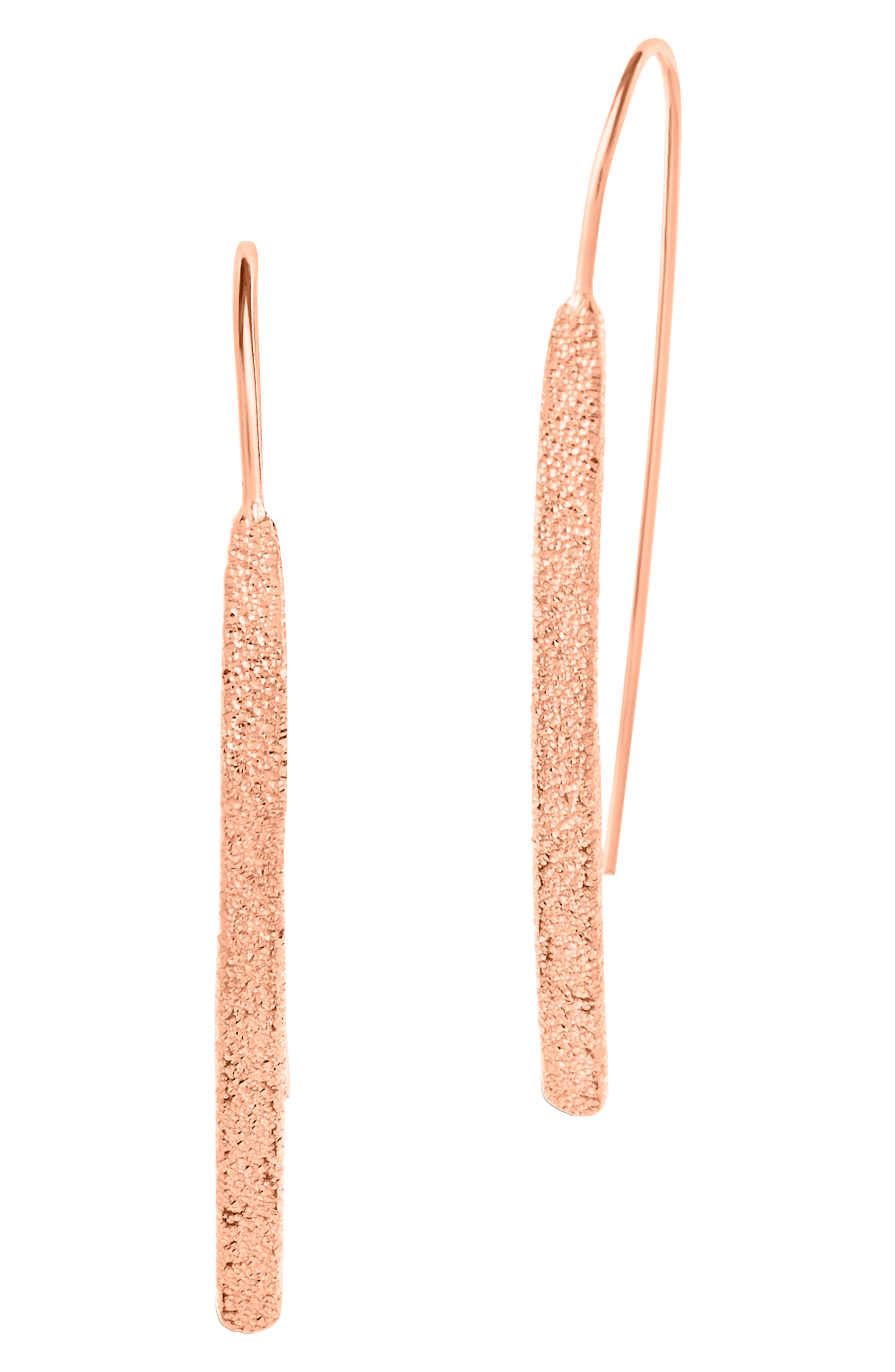 Image of Sterling Forever 14K Rose Gold Vermeil Plated Sterling Silver Textured Threader Earrings