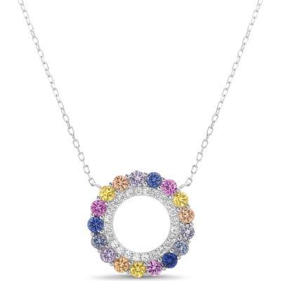 Lesa Michele Circle Pendant Necklace