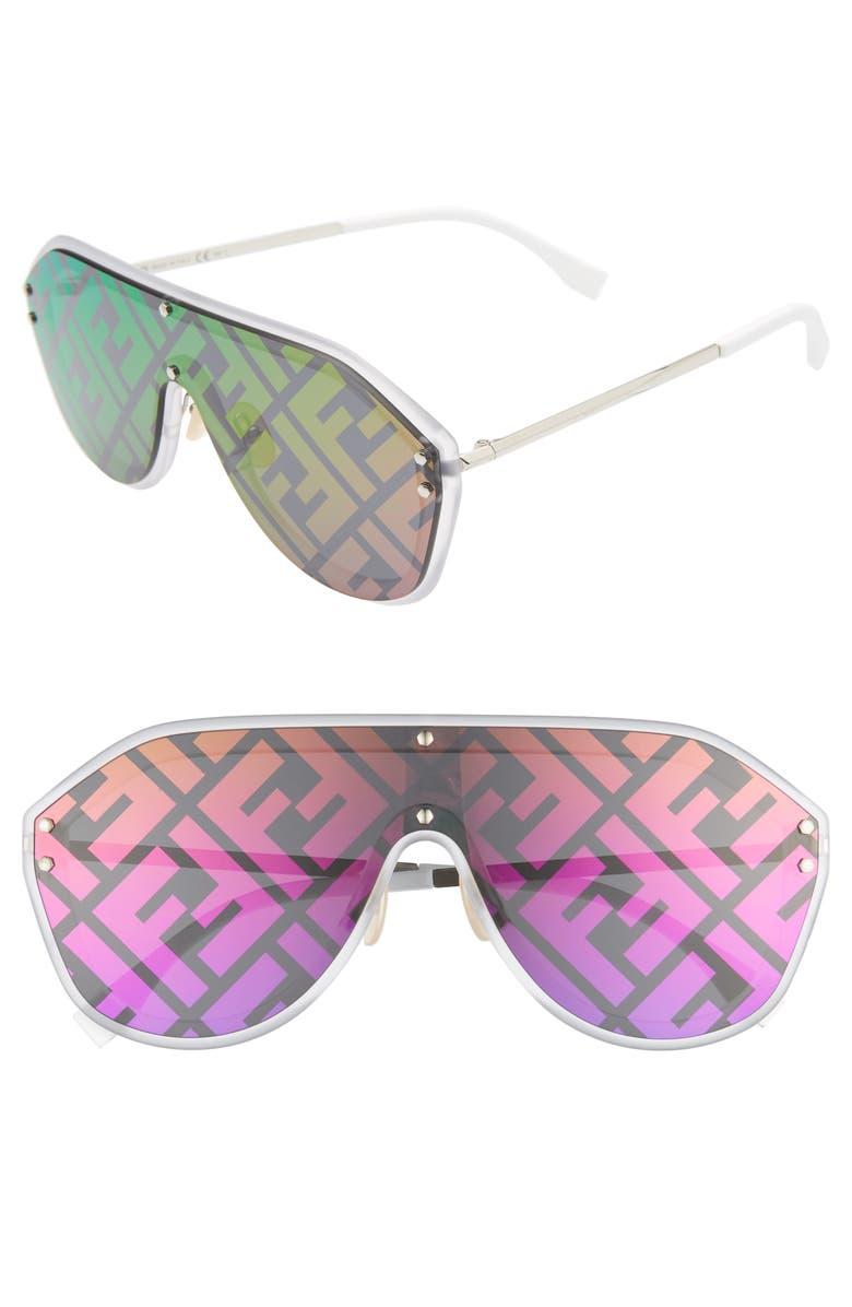 FENDI 147mm Logo Lens Shield Sunglasses, Main, color, SILVER/ PURPLE/ RAINBOW