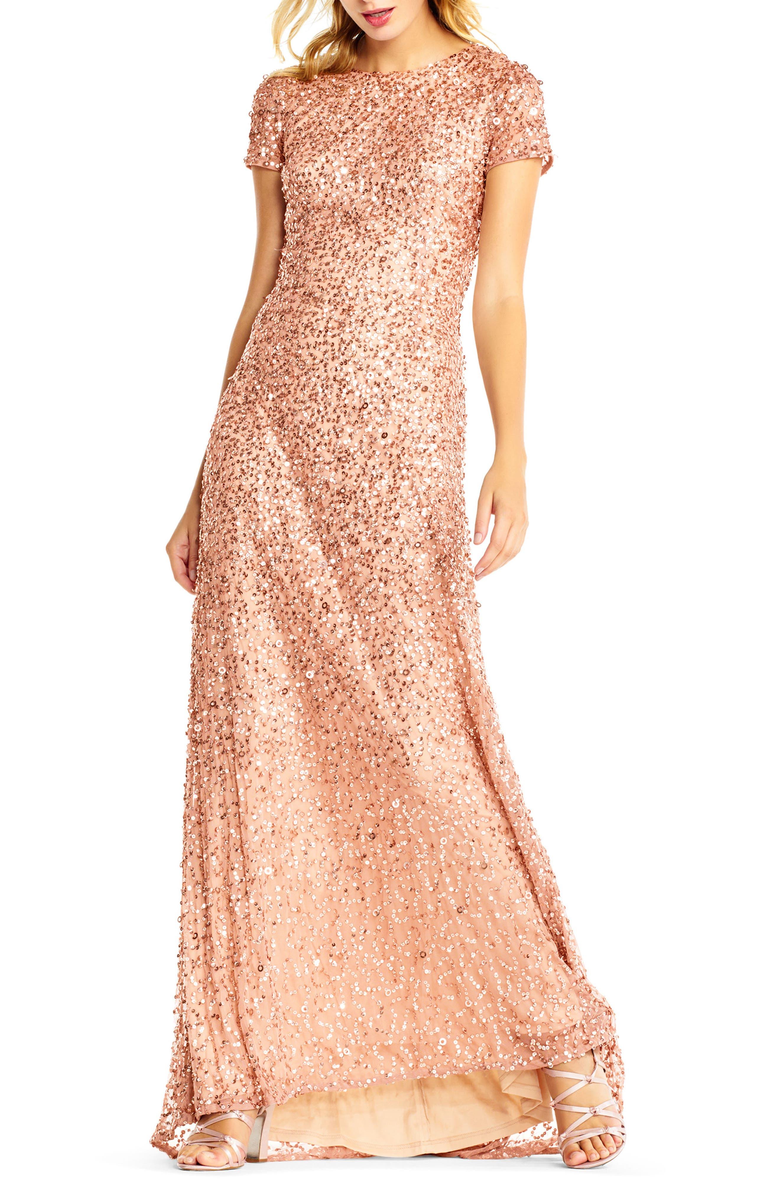 ,                             Short Sleeve Sequin Mesh Gown,                             Main thumbnail 33, color,                             718