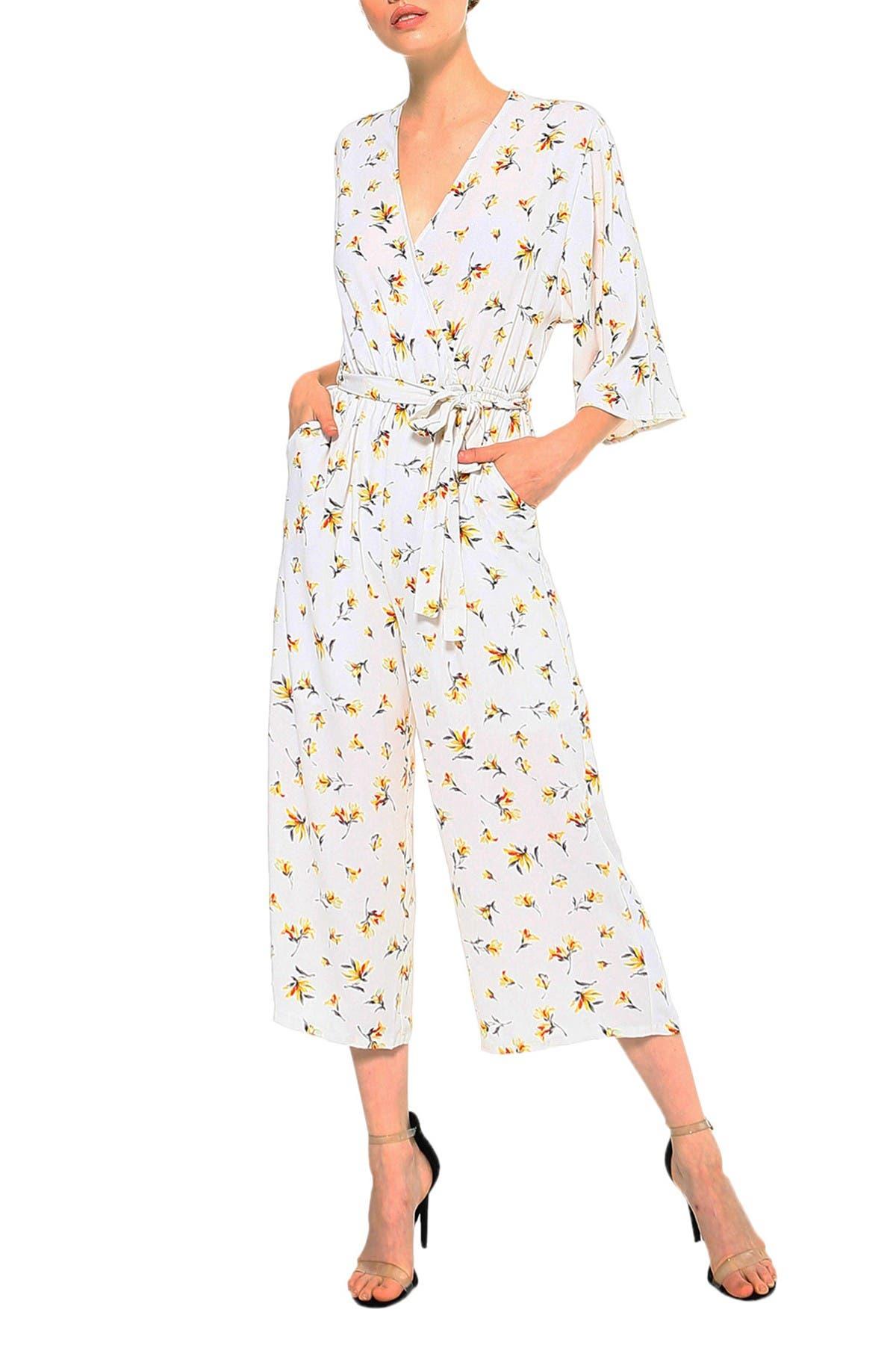 Image of Collective Concepts Kimono Floral Print Wrap Jumpsuit