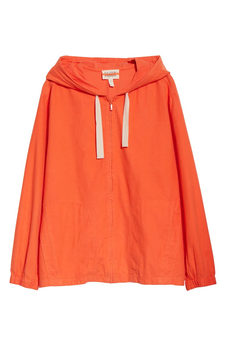 EILEEN FISHER Organic Cotton Hooded Zip Jacket, Main, color, 800