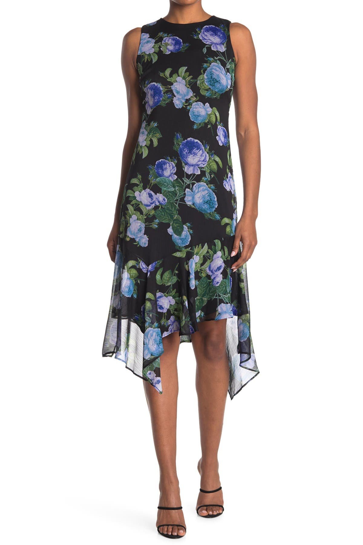 Image of Calvin Klein Rose Floral Print High/Low Midi Dress