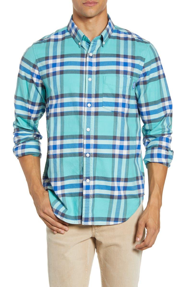 CHUBBIES The Plaidical Button-Down Shirt, Main, color, DARK GREEN