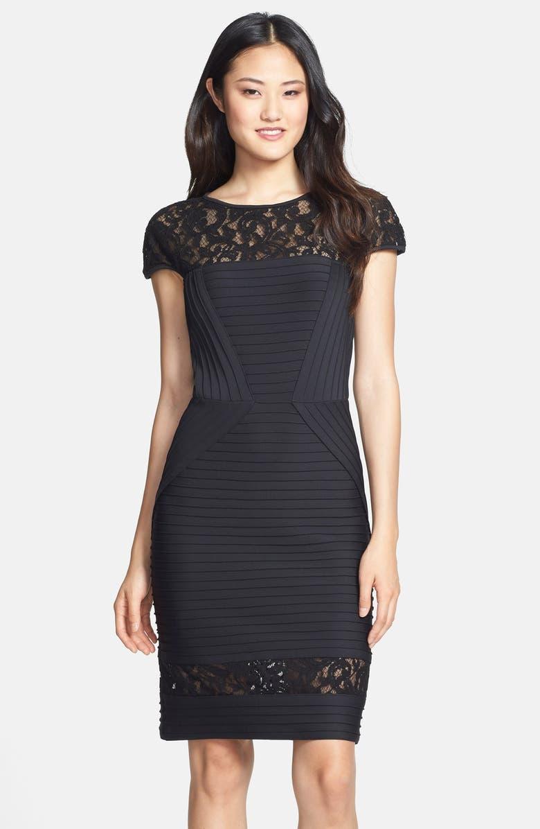 TADASHI SHOJI Lace Inset Pintuck Sheath Dress, Main, color, 001