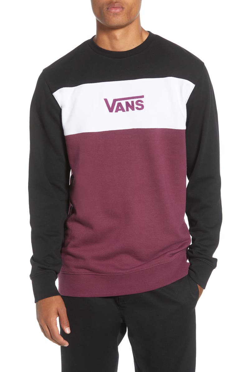 VANS Retro Active Colorblock Crewneck Sweatshirt, Main, color, 001
