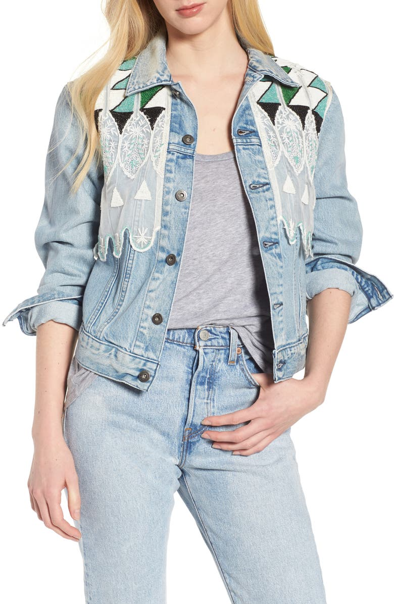 LEVI'S<SUP>®</SUP> MADE & CRAFTED<SUP>™</SUP> Embellished Boyfriend Trucker Jacket, Main, color, 420