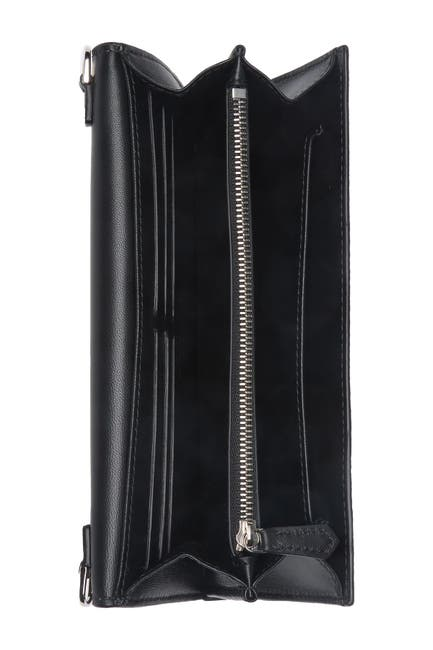 Image of Alexander McQueen Skull Pebbled Wallet with Chain Strap