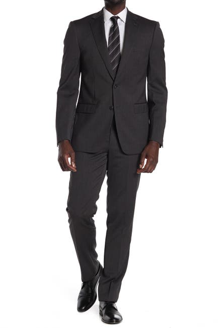 Image of Calvin Klein Charcoal Wool Two Button Notch Lapel Suit