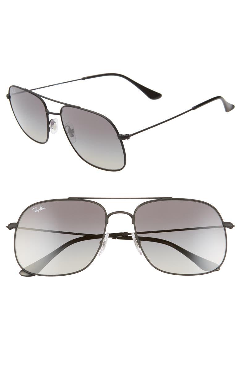 RAY-BAN 59mm Gradient Navigator Sunglasses, Main, color, RUBBER BLACK