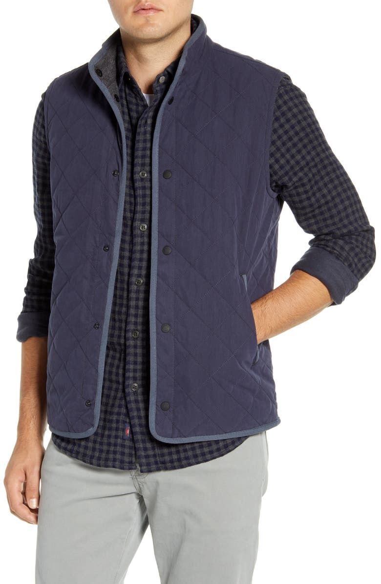 FAHERTY Regular Fit Reversible Vest, Main, color, NAVY CHARCOAL