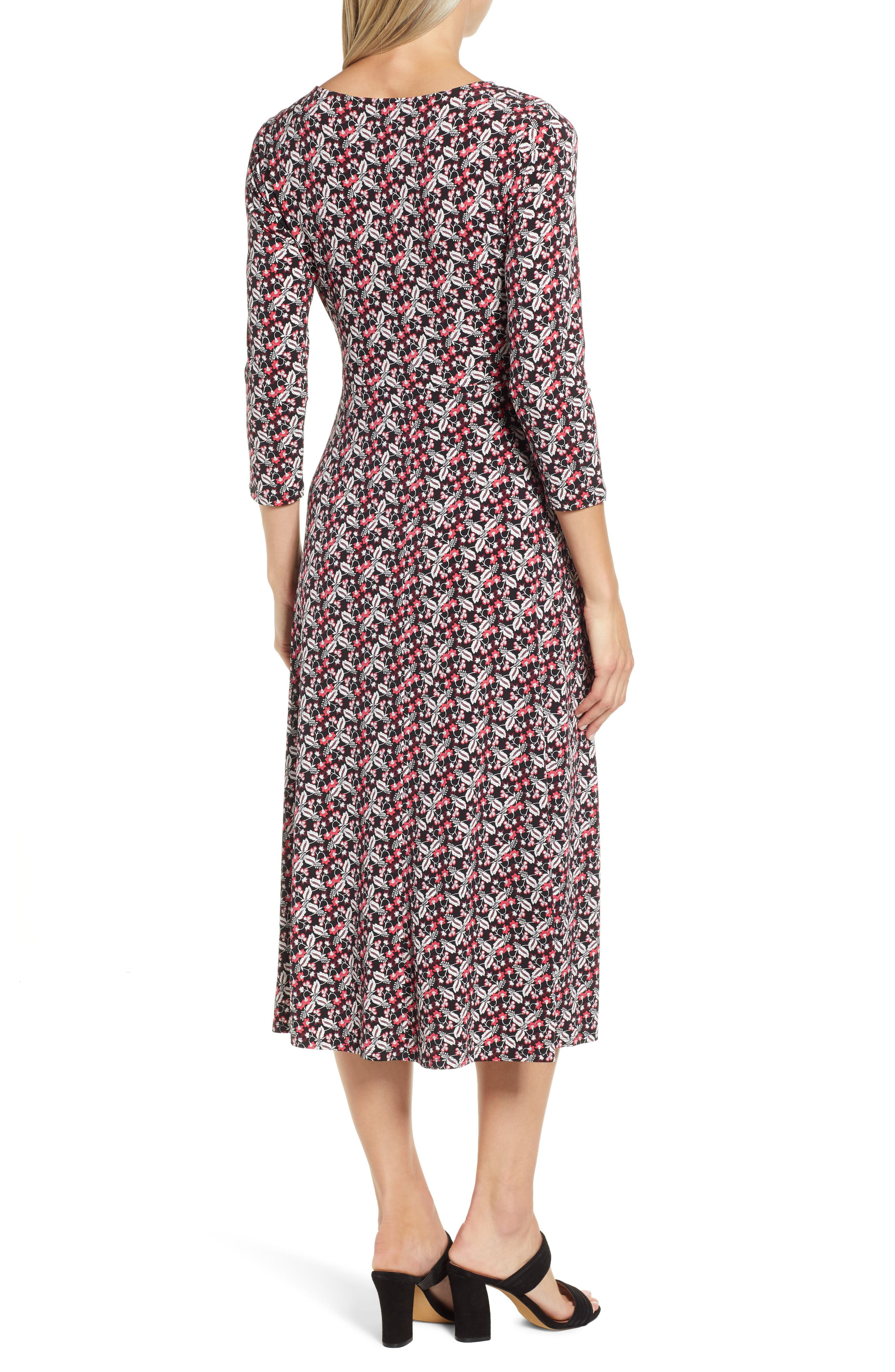 ,                             Knot Front Ditsy Dress,                             Alternate thumbnail 2, color,                             CORAL CHARM