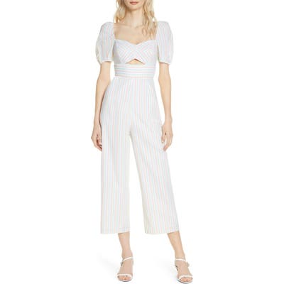 Ali & Jay Two Palms Stripe Crop Jumpsuit, White