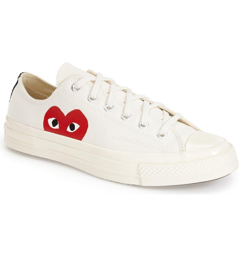COMME DES GARÇONS PLAY x Converse Chuck Taylor<sup>®</sup> Low Top Sneaker, Main, color, WHITE CANVAS