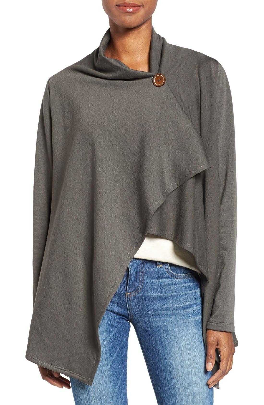 ,                             One-Button Fleece Wrap Cardigan,                             Alternate thumbnail 90, color,                             333