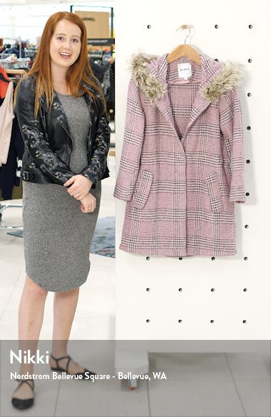 Pink Slip Houndstooth Plaid Hooded Coat, sales video thumbnail