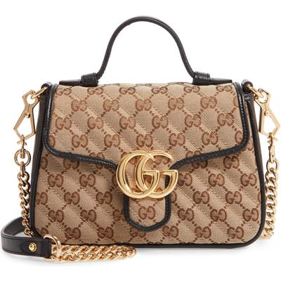 Gucci Mini Gg 2.0 Quilted Canvas Top Handle Bag - Beige