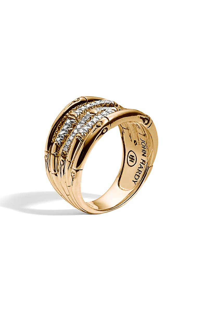 JOHN HARDY Wide Bamboo Ring, Main, color, GOLD/ DIAMOND