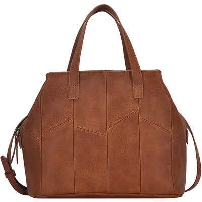 Antik Kraft Patchwork Faux Leather Satchel - Brown