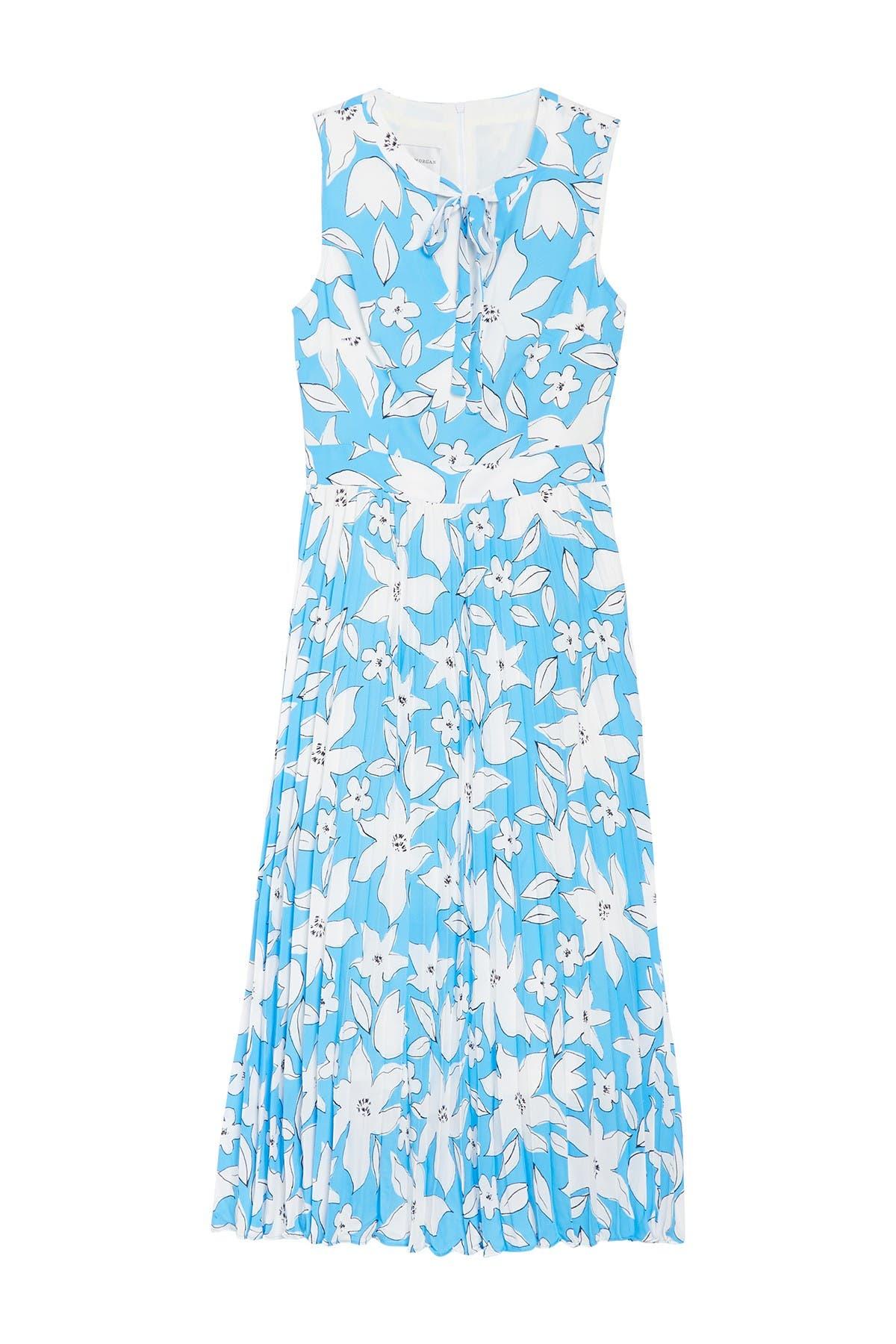 Image of Donna Morgan Floral Sleeveless Pleated Midi Dress