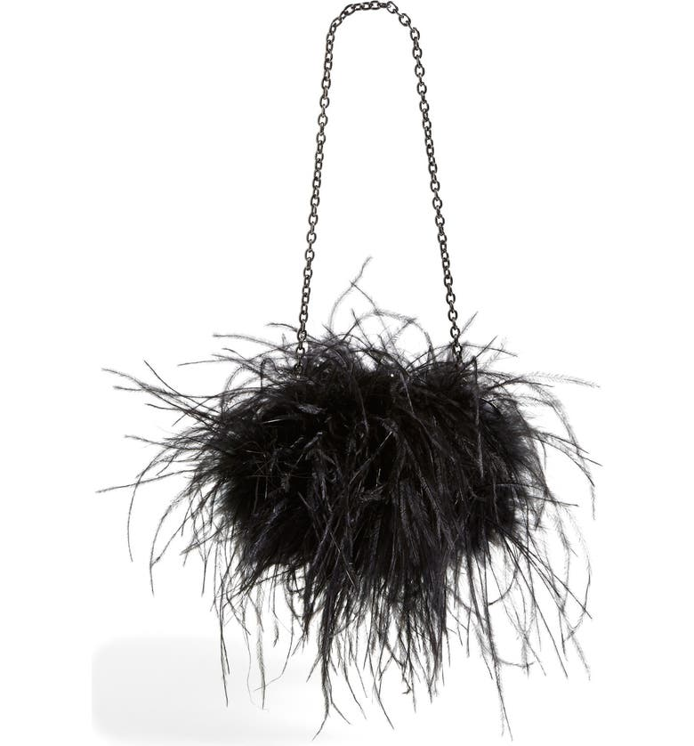 SONDRA ROBERTS Feather Clutch, Main, color, 001