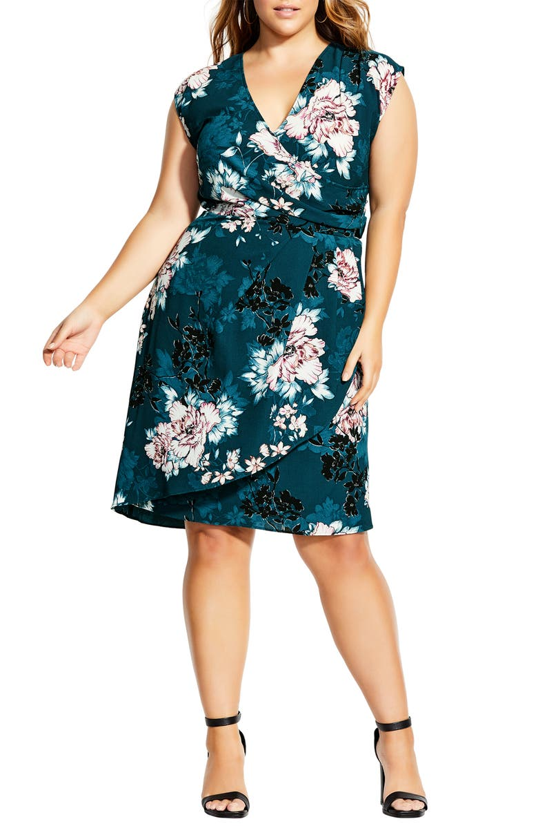 CITY CHIC Blossom Faux Wrap Dress, Main, color, JADE BLOSSOM
