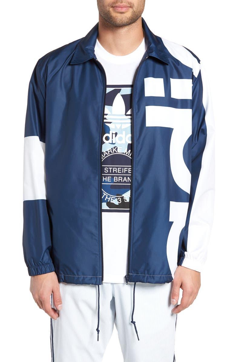 ADIDAS ORIGINALS Big Logo Jacket, Main, color, COLLEGIATE NAVY/ WHITE