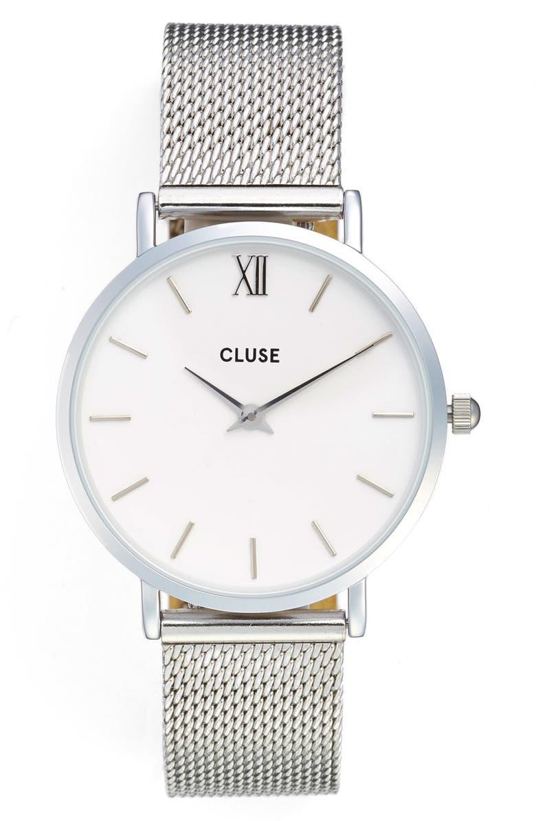 CLUSE Minuit Mesh Strap Watch, 33mm, Main, color, 040