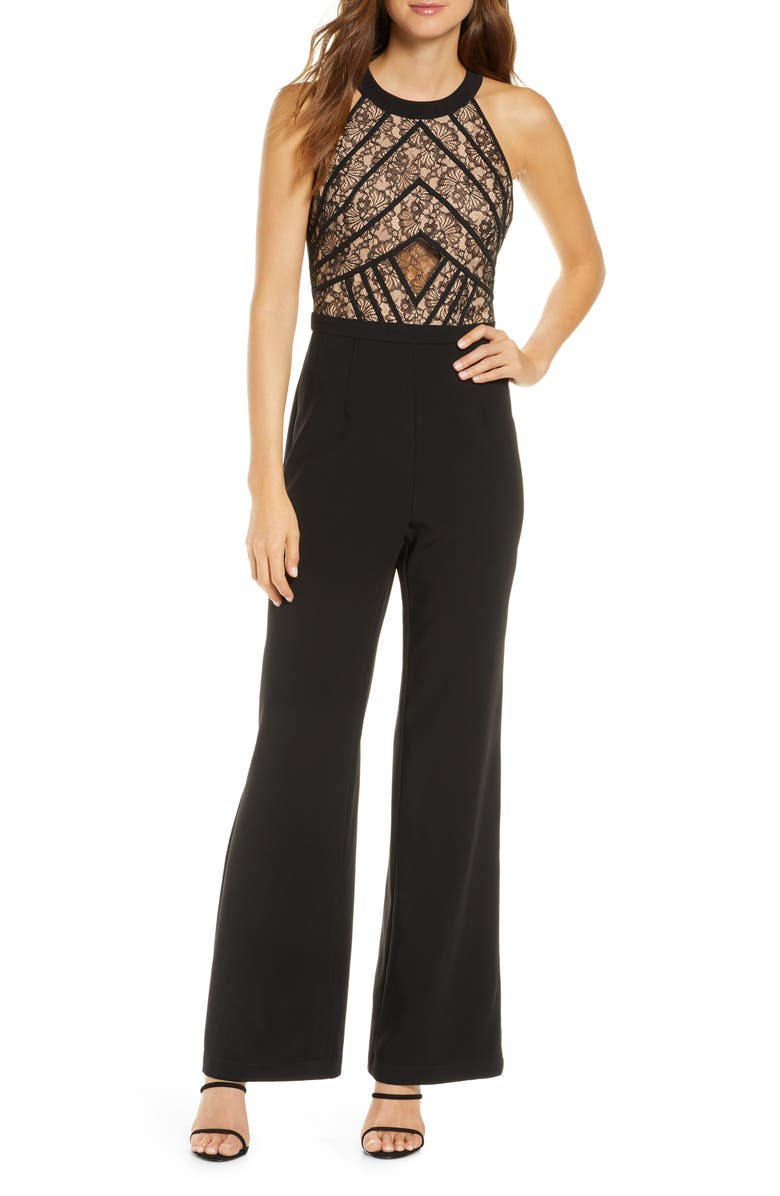 ADELYN RAE Tay Lace Bodice Wide Leg Jumpsuit, Main, color, BLACK-NUDE