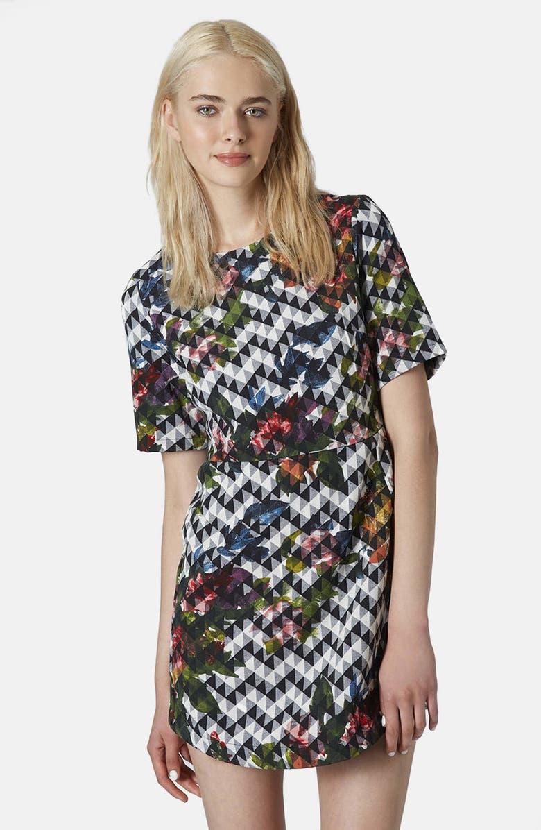 TOPSHOP Blurred Jacquard A-Line Dress, Main, color, 001