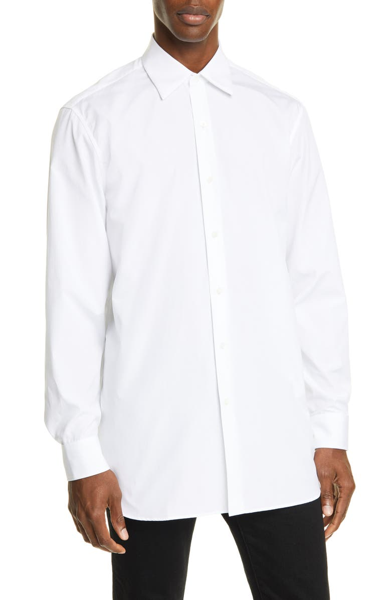 DRIES VAN NOTEN Relaxed Fit White Button-Up Shirt, Main, color, WHITE