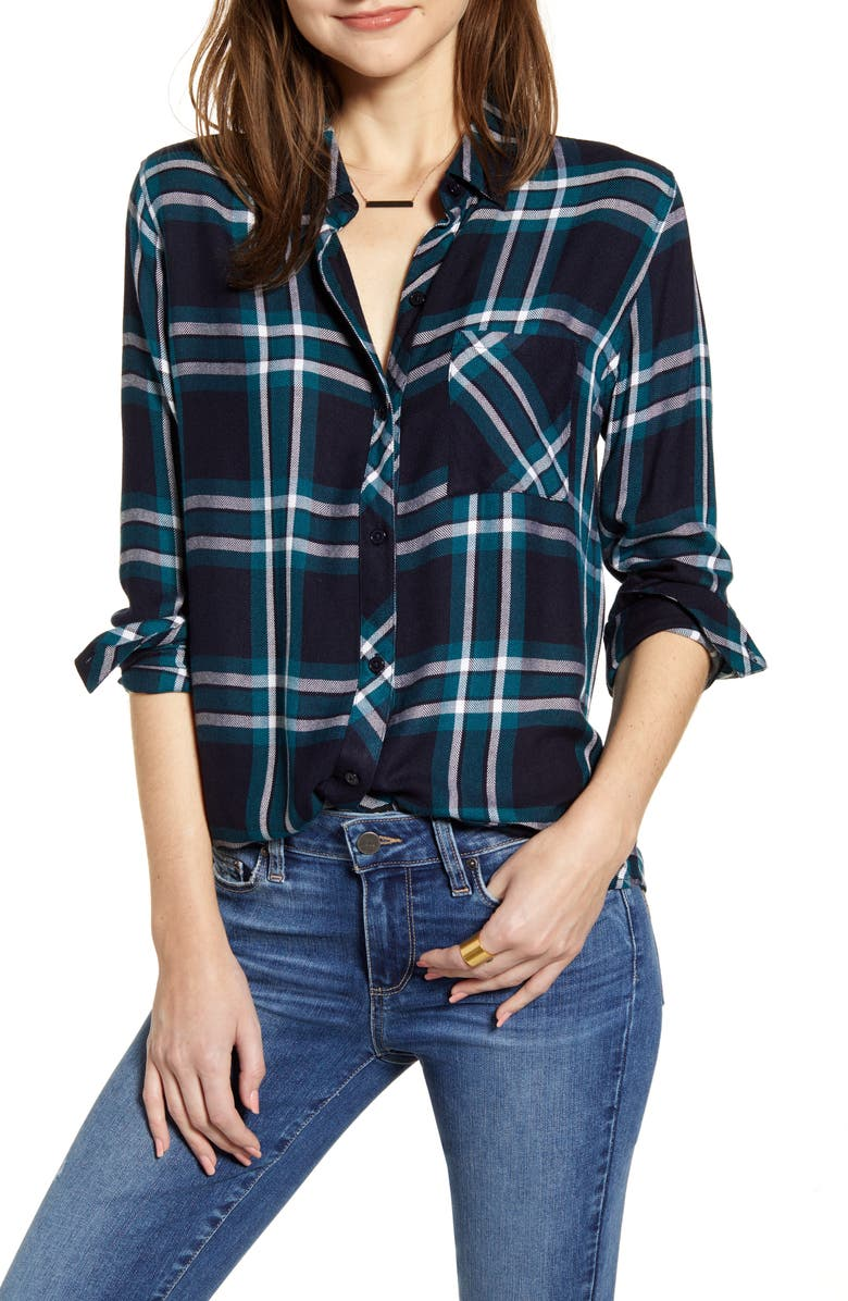 RAILS Hunter Plaid Shirt, Main, color, MEDITERRANEAN NAVY