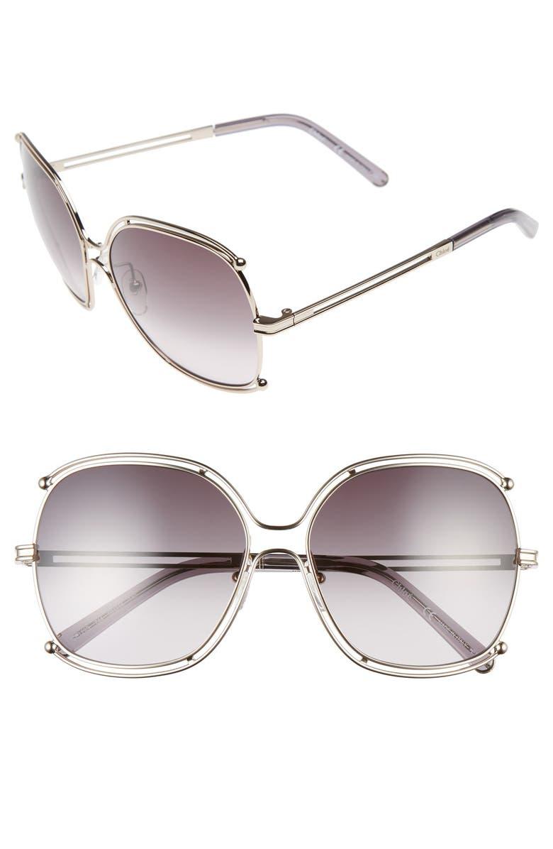 CHLOÉ Isidora 59mm Square Sunglasses, Main, color, 710