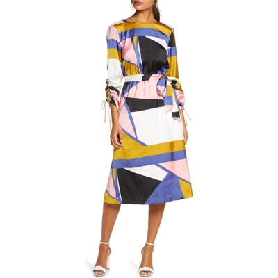 Julia Jordan Geo Print French Twill Dress, Ivory