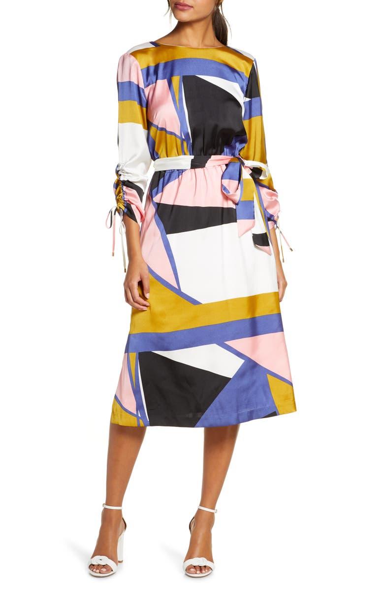 JULIA JORDAN Geo Print French Twill Dress, Main, color, IVORY MULTI