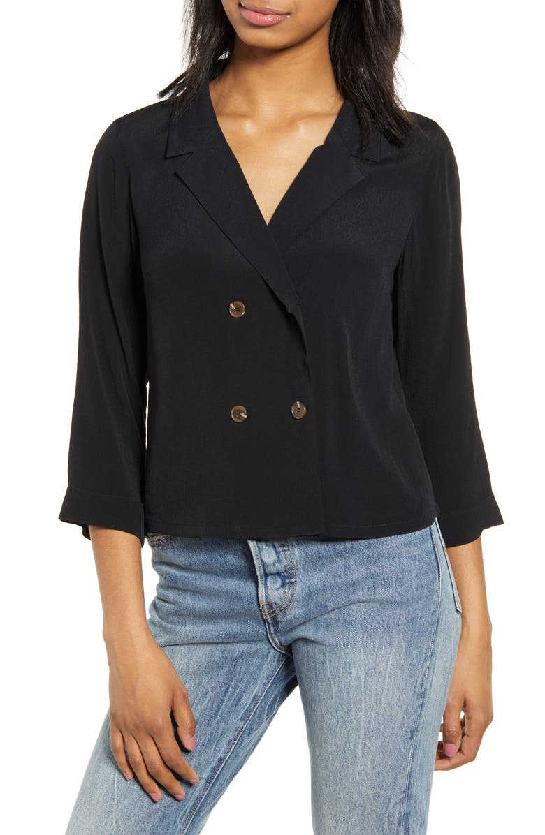 CODEXMODE Double Breasted Blouse, Main, color, BLACK