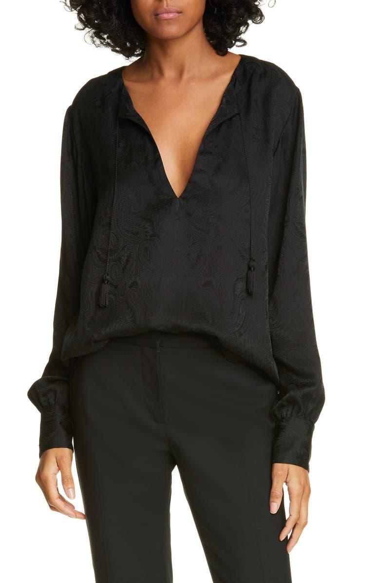 NILI LOTAN Lucena Silk Blouse, Main, color, BLACK