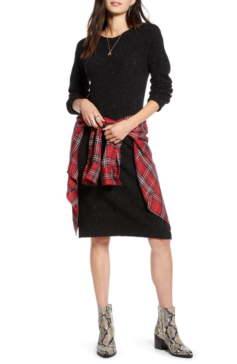 TREASURE & BOND Nep Sweater Dress, Main, color, BLACK NEP