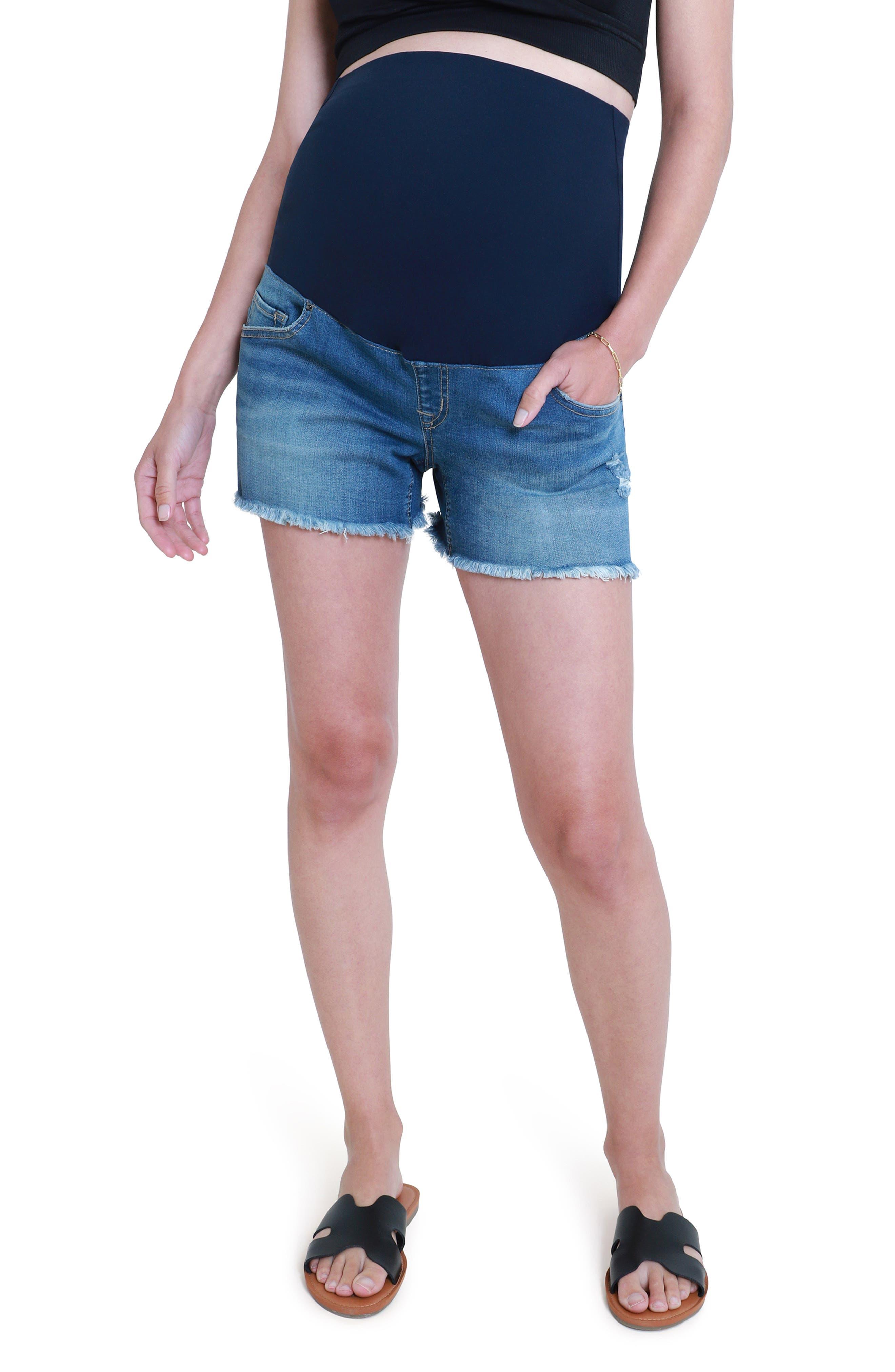 Women's Ingrid & Isabel Over The Bump Cutoff Denim Maternity Shorts