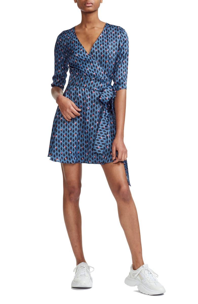 MAJE Reanny Logo Pattern Wrap Dress, Main, color, 400