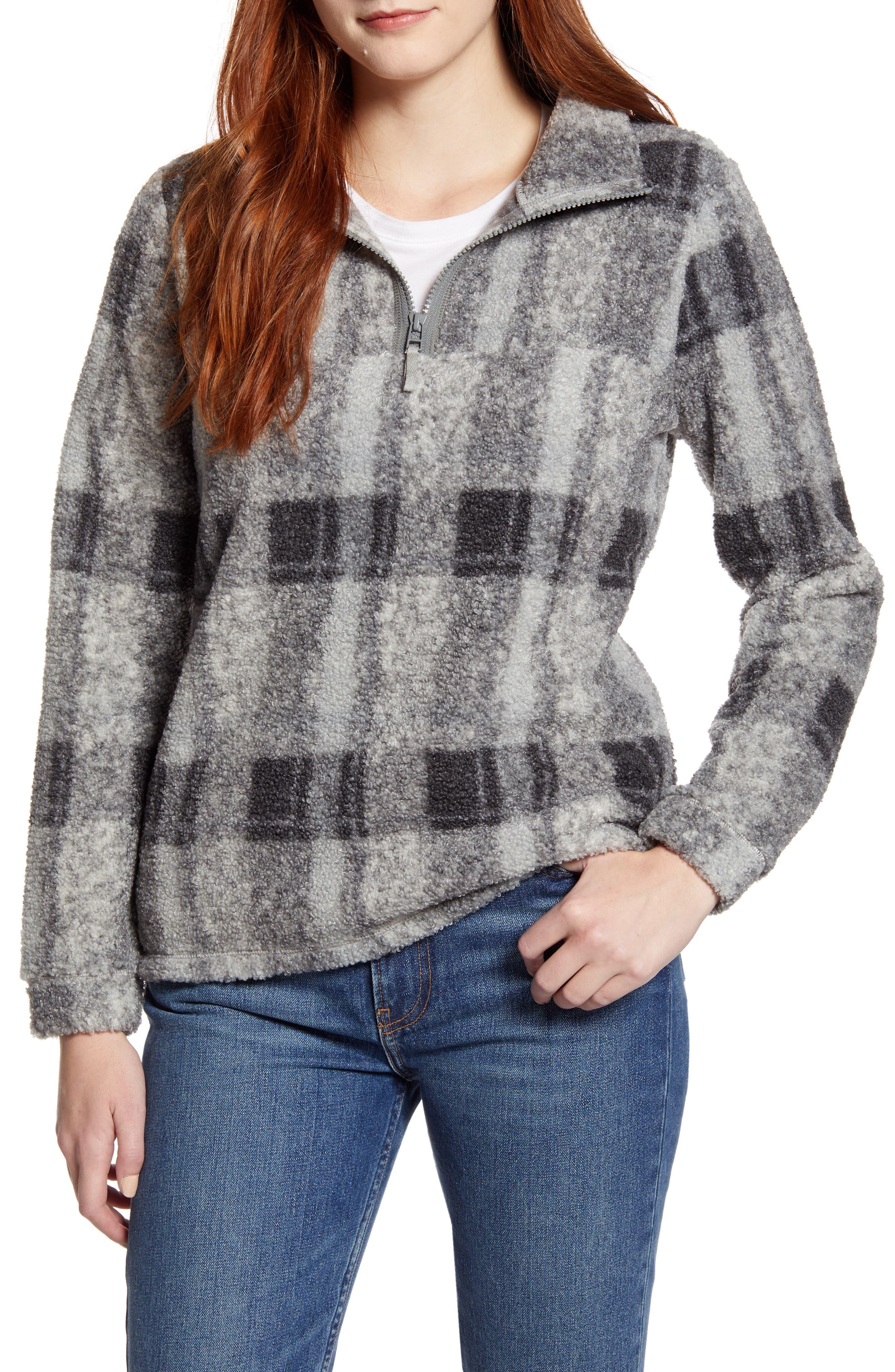 Caslon® Quarter Zip Faux Fur Pullover (Regular & Petite)