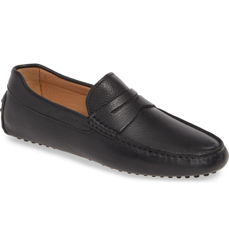 JACK ERWIN Parker Driving Shoe, Main, color, BLACK PEBBLE LEATHER