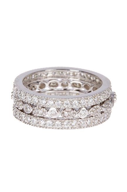 Image of Sterling Forever Sterling Silver Three Row CZ Band Ring - Set of 3